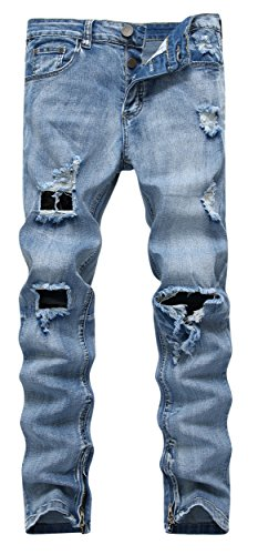 Men's Ripped Skinny Distressed Destroyed Zipper Slim Jeans Pants with Holes 8533