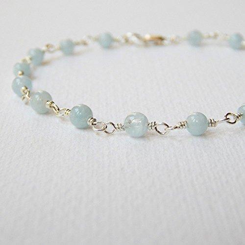 Aquamarine Silver Beaded Bracelets - Aquamarine Bracelet in Sterling Silver