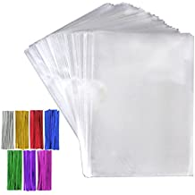 "Tomnk 200pcs Cellophane Treat Bags Clear Candy Bags (6.3"" x 9"") with 200 Twist Ties 7 Mix Colors, Candy Bread Chocolate Jelly Bags, Bakery Bags"