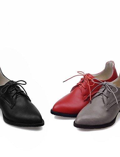 NJX/ hug Damenschuhe-High Heels / Oxfords-Büro / Kleid / Lässig-Kunstleder-Blockabsatz-Absätze / Spitzschuh-Schwarz / Rot / Grau red-us3.5 / eu33 / uk1.5 / cn32