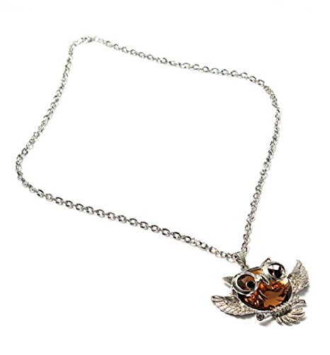 Champagne Vintage Crystal Rhinestone Owl Bird Sweater Chain Necklace For Women by 24/7 store
