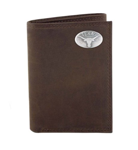 - NCAA Texas Longhorns Light Brown Crazyhorse Leather Trifold Concho Wallet, One Size