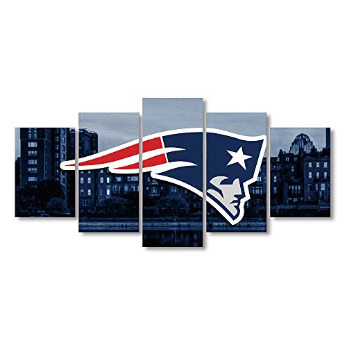 5 Panel New England Patriots Canvas Prints Painting Wall Art Sports Home Decor Artwork for Living Room Without Frame