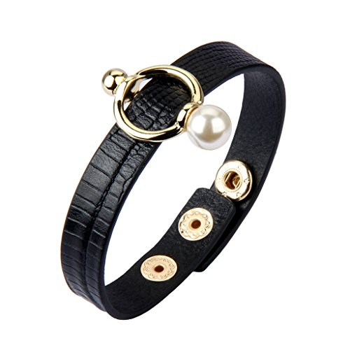 Nydelo Genuine Black Italian Leather Bracelet Pearl Charm Adjustable Bracelets Handmade Cuff Bangle for Women ()