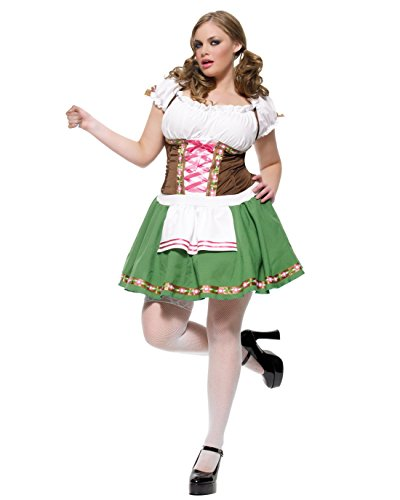 Plus Size German Beer Girl Costume Oktoberfest Fall Autumn Drinking Costume Sizes: 1X-2X