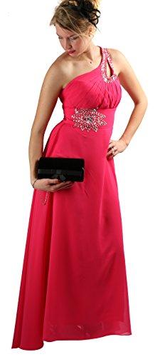 ROBLORA-Cocktail ceremonia vestido de noche vestido de dama de honor de la boda de bustier largo Celine10 Fushia