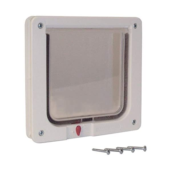 Ideal Pet Products Cat Flap Door with 4 Way Lock, 6.25″ x 6.25″ Flap Size, Cream (SPF)