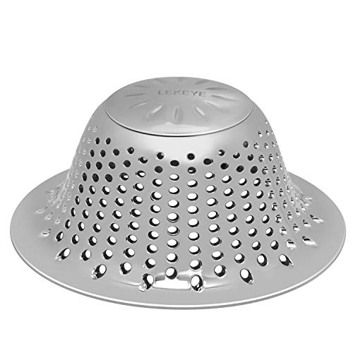 LEKEYE Bathroom Shower Drain Hair Catcher/Stainless Steel Drain Protector/Hair Trap, Strainer, Cover, Filter, Bath Accessories/Tall Dome Shape/Good Grip/for Pop-up & Regular Flat Drains-Silver - Shower Strainer Accessory