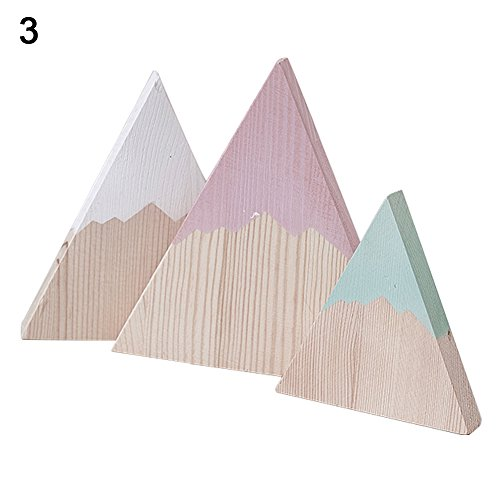 (BYyushop 3Pcs/Set Nordic Wooden Triangle Mountain Ornaments Home Bedroom Decoration Gift - 3#)