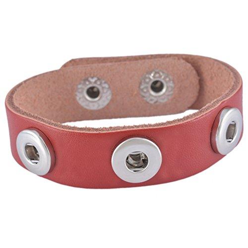Souarts Vin Rouge Bracelet Cuir Veritable pour Mini Bouton a Pression