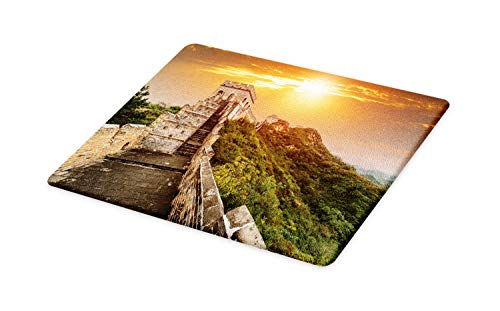 Ambesonne Great Wall of China Cutting Board, The Magnificent Heritage of World Background Brick Borders Picture, Decorative Tempered Glass Cutting and Serving Board, Small Size, Orange Green
