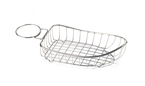 10.75'' x 6.25'' Stainless Steel Boat Basket with 1 Holder, Clipper Mill by GET 4-80118 (Qty,1)