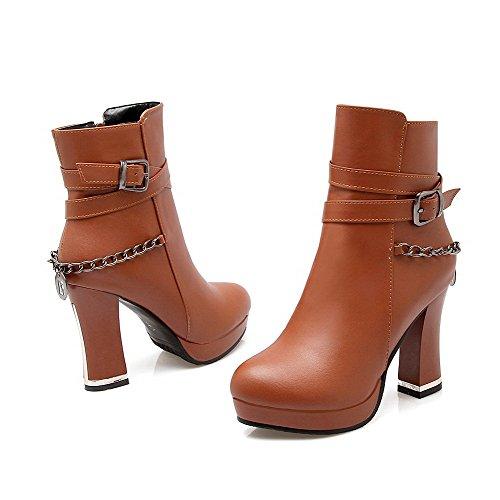 tacón punta cerrada alto botas redonda mujer altas punta AgooLar marrones para BHOqpTT