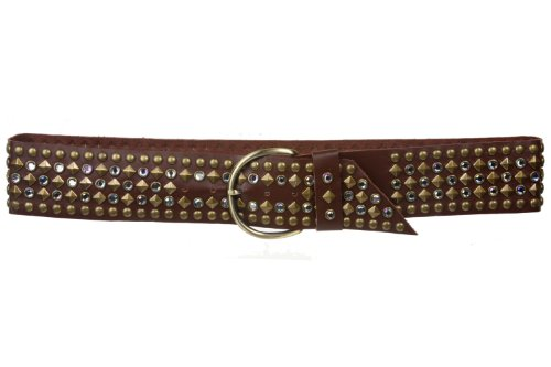 (Ladies 2 1/4 Inch Rhinestone Studded Genuine Leather Sash Belt Size: S/M - 34 Color: Brown)
