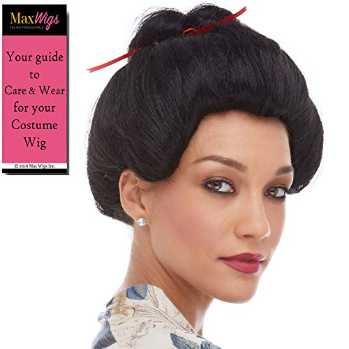 Geisha Girl Japanese Color Black - Sepia Wigs Asian Night Club Cosplay Fancy Dress Synthetic Bun Ribbon Classical Bundle Costume Wig Booklet