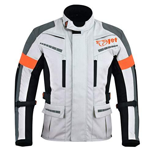 Jet Motorradjacke Herren Mit Protektoren Textil Wasserdicht Winddicht Silber Grau (L (EU 50 – 52))