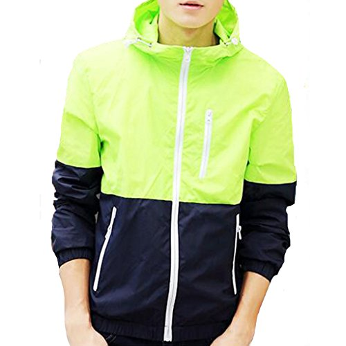 - Stunner Men's Spring Slim With Hood Spring Casual Light Jacket US S fluorescent green