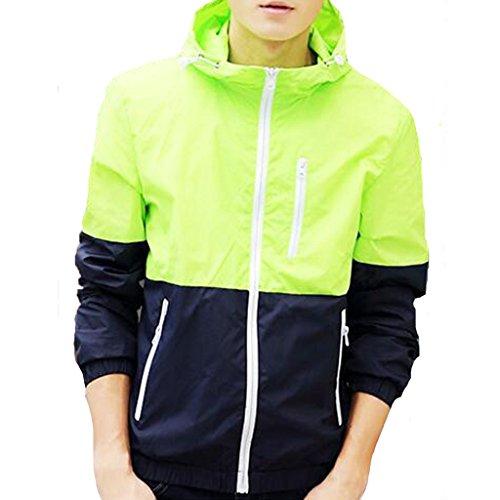 - Stunner Men's Spring Slim With Hood Spring Casual Light Jacket US S fluorescent green