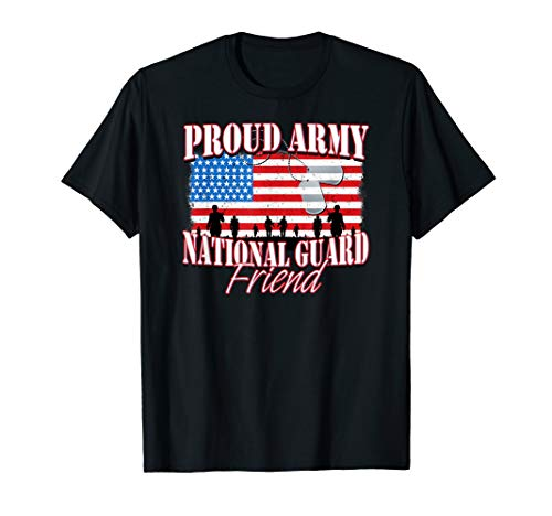 Proud Army National Guard Friend Dog Tag Flag Shirt ()