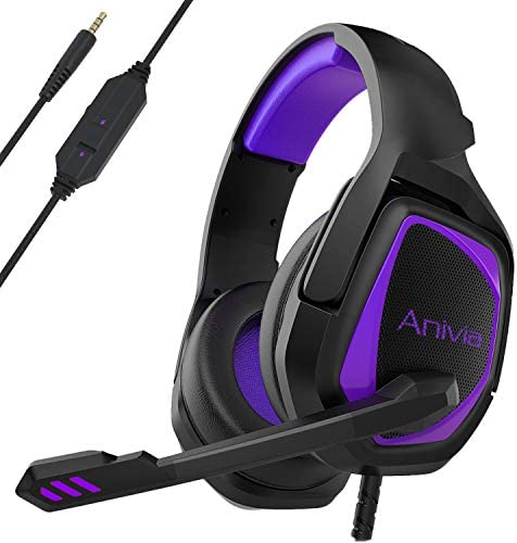 PS4 Headset, MH602 Gaming Headset,Xbox one Stereo Gaming Headphone with Noise Cancelling with in-line Control for PS4 PS5 Xbox 1 PC Laptop Mac(Black Purple)