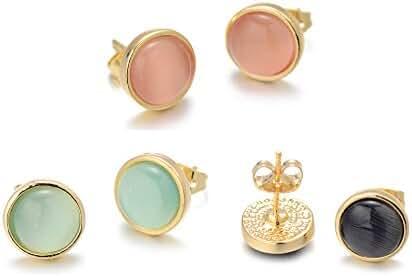 Onnea Gold Tone Opal Round Stud Earrings Set
