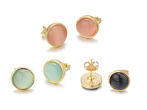 Onnea Gold Tone Opal Round Stud Earrings Set(Pink/Green/Black) - Green Stud Earring Box
