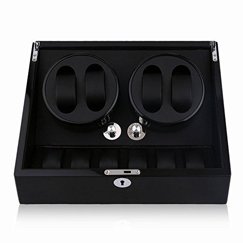 Water-chestnut Watch Winder,Automatic watchbox 10 Watch Winder Case Display Box (ALL BLACK 4+6) by Water-chestnut (Image #7)