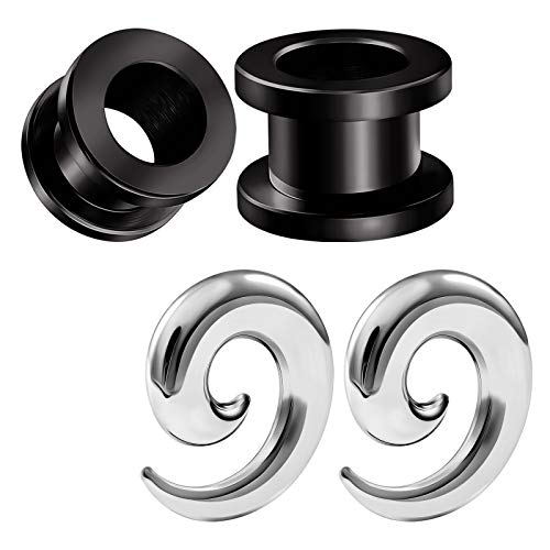 - BIG GAUGES 2 Pairs Surgical Steel Black Anodized 00 g 10 mm Spiral Taper Expander Screw Flesh Tunnel Piercing Stretcher Ear Plugs BG4794