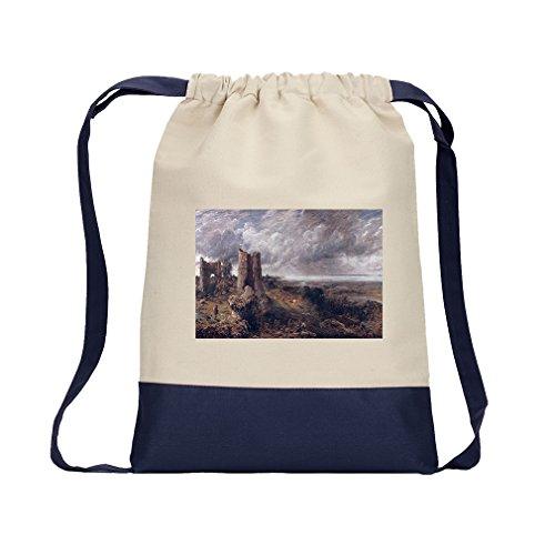 Hadleigh Castle (Constable) Canvas Backpack Color Drawstring Bag - Navy - Hadleigh Castle