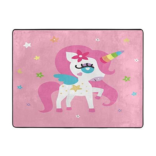 Unicorn Girl Pink Irish Flag With Shamrock Floor Mat Living Room Bedroom Carpets Doormats 63 X 48 Inches (33 1 3 Pink Flag)