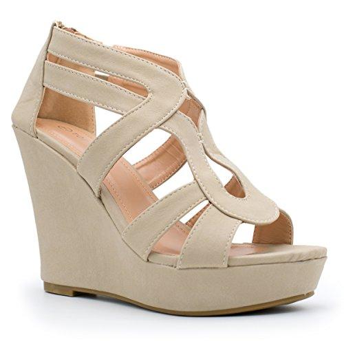 (TOP Moda Womens Lindy-3 Platform Sandals, Beige TS 10)