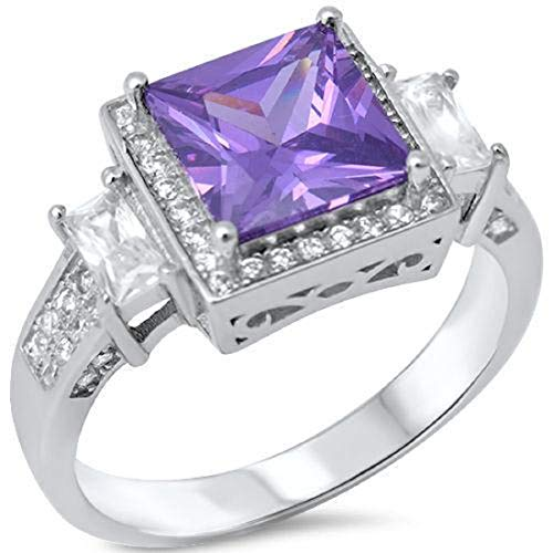 (Halo Wedding Ring 3.01CT Princess Cut Purple Simulated Amethyst Baguette Round CZ 925 Sterling Silver)