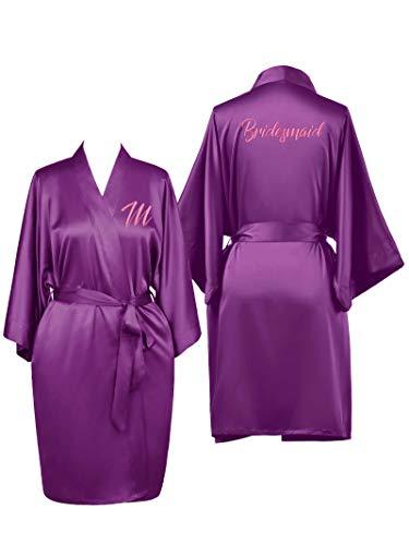 SIORO Bridal Party Robes,Personalized Embroidered Bathrobe for Bridesmaid Bride Bridal Party Kimono Gown,Purple Plus Size