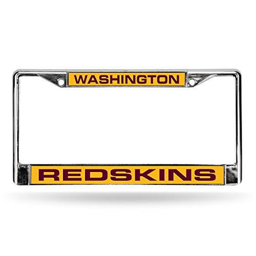 NFL Washington Redskins Laser Cut Chrome Plate Frame, Silver, 12