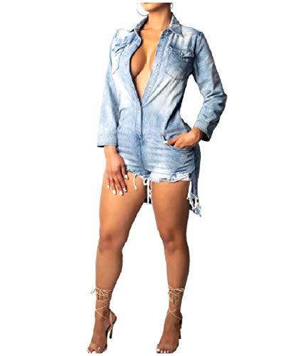 (Sebaby Women Destroyed Denim Long-Sleeve Washed Fashional Short Jumpsuit Blue L)
