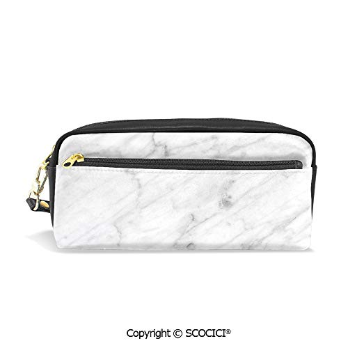 Girls Boys 3D Printed PU Pencil Case Holders Bag with Zipper Carrara Marble Tile Surface Organic Sculpture Style Granite Model Modern Design Stationery Makeup Cosmetic Bags Back to School ()
