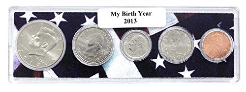 2013-5 Coin Birth Year Set in American Flag Holder Uncirculated (Coin Holder Set)