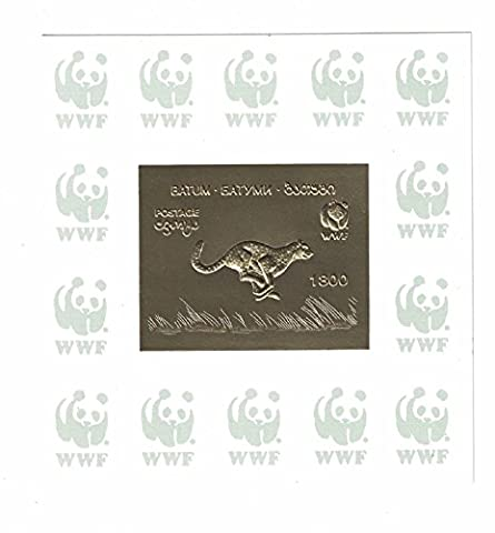 Stamps for collectors - Gold leaf WWF stamp with Cheetah / Batum (Wwf Cheetah)