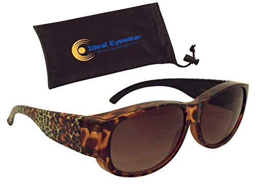 Animal Print Fit Over Sunglasses by Ideal Eyewear - Wear Over Prescription Glasses - Over Eyeglasses - Light and Comfortable - Case Included (Jungle Cat with case, - Animal Prescription Sunglasses