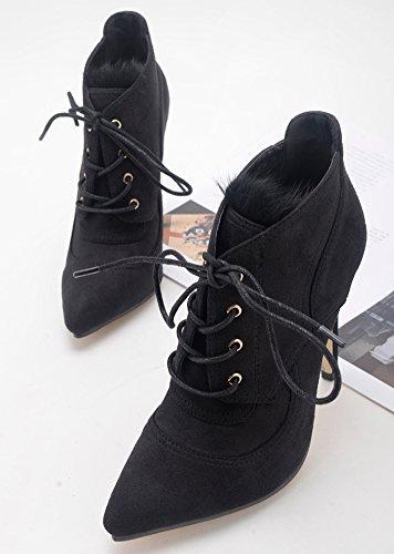 Ladies' Boots Heels Fashion Hair Shoes QZUnique Short Rabbit Women' High Black Suede Stitching s with tZnUSq
