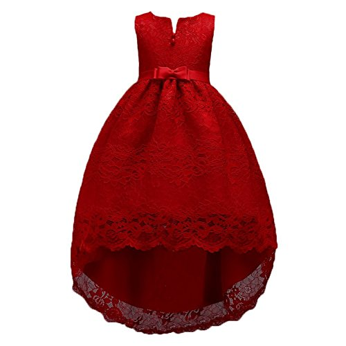 Girl Dresses Size 14/16 Sleeveless A-Line Dark Red Formal Christmas Special Occasion Bow Bridesmaid Dress Girls Party Prom Lace Tutu Tulle Gowns Big Girl Dresses Size 7-16 (12-16 Years Red 170)
