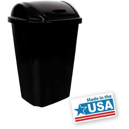 Hefty Swing-Lid 13.5-Gallon Trash Can, Black
