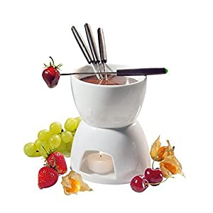 Ceramic Chocolate Fondue Set w/ Forks - Tea Light Porcelain Melting Pot w/ Fondue Dippers