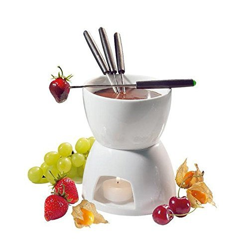 Ceramic Chocolate Fondue Set w/Forks - Tea Light Porcelain Melting Pot w/Fondue Dippers