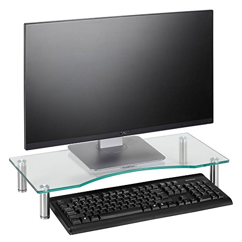 VonHaus Curved Glass Monitor Stand – Adjustable Height Multiple Screen Riser for PC Monitors, Computers, Laptops & TVs – 22 x 9.5 inches – Clear