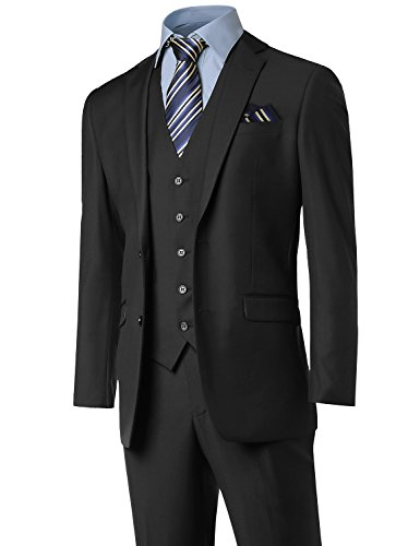 Contemporary Slim Suits in Different Options (3pcs,2pcs,vest) Black Size - In Male Suit A
