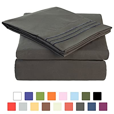 BLC Bed Sheet Set, Hypoallergenic Microfiber 3-piece sheets with 14-Inch Deep Pocket (Twin XL, Dark Gray) -  - sheet-sets, bedroom-sheets-comforters, bedroom - 416dCSuS1nL. SS400  -