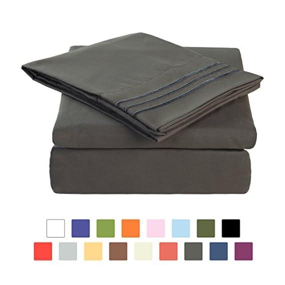 BLC Bed Sheet Set, Hypoallergenic Microfiber 3-piece sheets with 14-Inch Deep Pocket (Twin XL, Dark Gray) -  - sheet-sets, bedroom-sheets-comforters, bedroom - 416dCSuS1nL. SS570  -
