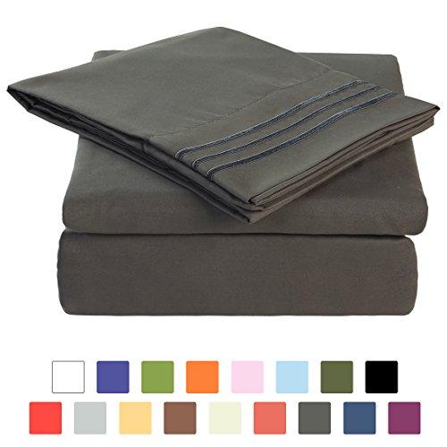 BLC Bed Sheet Set, Hypoallergenic Microfiber 4-piece sheets with 18-Inch Deep Pocket (Queen, Dark Gray) - Dark Gray Queen Sheets