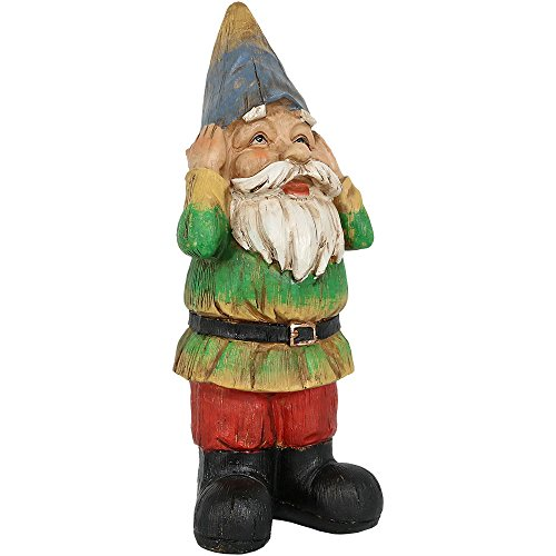 Sunnydaze Garden Gnome Henry Hears No Evil Lawn Statue, Outdoor Yard Ornament, 12 Inch Tall